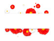 Flowers composition. Wreath made of various red flowers on white background. Flat lay, top view. - 183109268