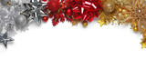 Christmas bows, ornaments, and decorations on white background - 183110250