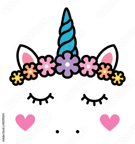 Cute unicorn face with pastel rainbow flowers isolated