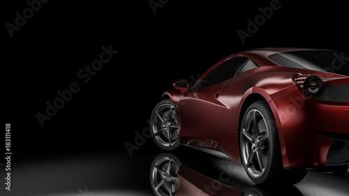 Ciemna samochodowa sylwetki 3D ilustracja