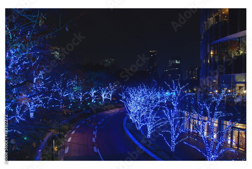 Plexiglas Tokio Winter Iluminations festival with light show in Tokyo Midtown, Japan 2017