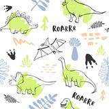 Seamless pattern with cute dinosaurs for children textile , wallpaper , posters and other design © lanpochka