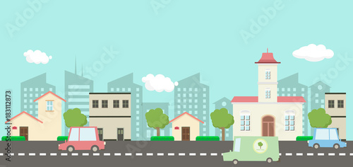 Deurstickers Lichtblauw Street in public park with nature landscape and car , building background vector illustration.Main street scene vector.City street with sky background