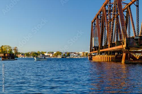 Plagát Open Swing Bridge Framing a Fisherman