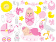 Vector Baby Shower Set with Cute Baby Girl, Stork, Accessories and Toys - 183121419