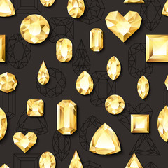 Vector seamless black glossy background with 3d golden gems, jewels. Gold shiny diamonds with different cuts. Luxury texture for holiday gift and jewelry shop.