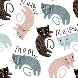Childish seamless pattern with cute artistic cats. Trendy scandinavian vector background. Perfect for kids apparel,fabric, textile, nursery decoration,wrapping paper - 183125229