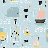 Seamless pattern with hand drawn sea jar with marine elements. Childish texture for fabric, textile,apparel. Vector background - 183125236