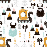 Childish seamless pattern with vikings. Trendy scandinavian vector background. Perfect for kids apparel,fabric, textile, nursery decoration,wrapping paper - 183125252