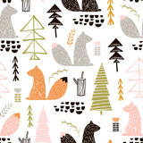 Seamless pattern with squirrel,trees. Creative woodland height detailed background. Perfect for kids apparel,fabric, textile, nursery decoration,wrapping paper.Vector Illustration - 183125262