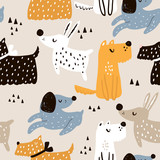 Childish seamless pattern with hand drawn dogs. Trendy scandinavian vector background. Perfect for kids apparel,fabric, textile, nursery decoration,wrapping paper - 183125277