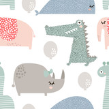 Seamless pattern with rhinoceros, elephant, crocodile, whale. Creative bay animals background. Perfect for kids apparel,fabric, textile, nursery decoration,wrapping paper.Vector Illustration - 183125290
