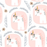 Cute seamless pattern with fairy unicorns . Childish texture for fabric, textile. Scandinavian style. Vector Illustration - 183125296