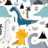 Childish seamless pattern with hand drawn dino in scandinavian style. Creative vector childish background for fabric, textile - 183125297
