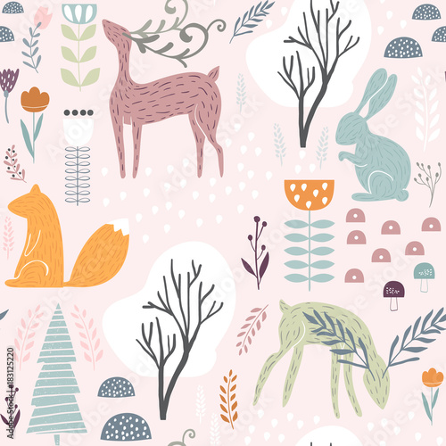 Cotton fabric Seamless pattern with bunny, squirrel,deer. Creative woodland height detailed background. Perfect for kids apparel,fabric, textile, nursery decoration,wrapping paper.Vector Illustration