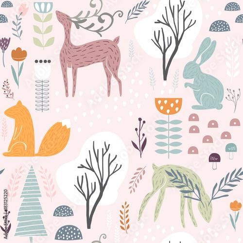 Materiał do szycia Wzór z bunny, wiewiórka, jelenie. Creative leśnych wysokość szczegółowe tła. Idealny dla dzieci Odzież, tkaniny, tekstylia, przedszkole dekoracje, papier pakowy. Ilustracja wektorowa