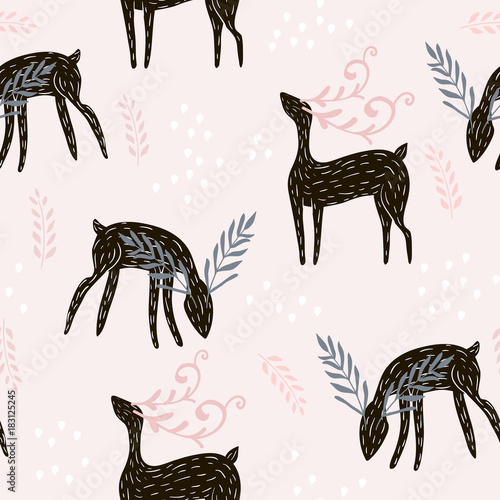 Cotton fabric Seamless pattern with deers, floral elements, branches. Creative woodland background. Perfect for kids apparel,fabric, textile, nursery decoration,wrapping paper.Vector Illustration
