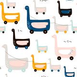 Cute duck on wheels childish pattern. Creative nursery background. Perfect for kids design, fabric, wrapping, wallpaper, textile, apparel - 183125430