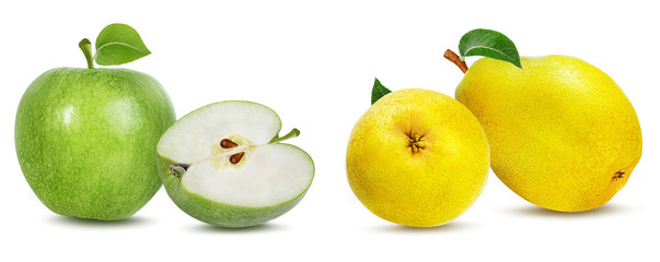 apple  and pears on a white background