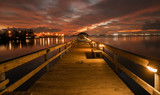 boardwalk at colorful sunset