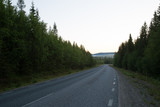 Typical road in Scandinavia, Polar day, Northern Finland