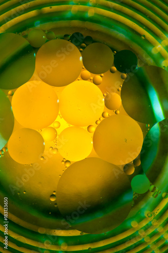Abstract photography using mixture of oil and water. Close up abstract photography. - 183133650