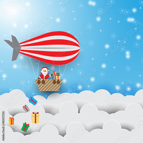Christmas Greeting Card with Santa Claus on the sky with color balloon.Vector illustration