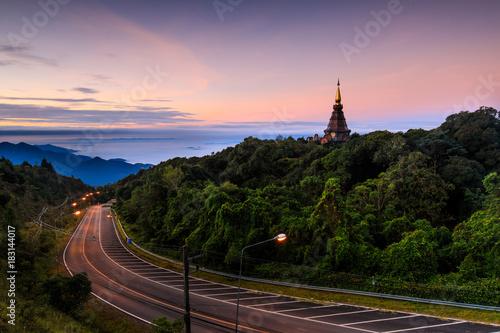 Fotobehang Lichtroze Landscape of Doi inthanon national park, Chiangmai province, Thailand.