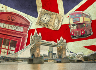 Collage of Big Ben, London Bus, Tower Bridge and Palace of Westminster