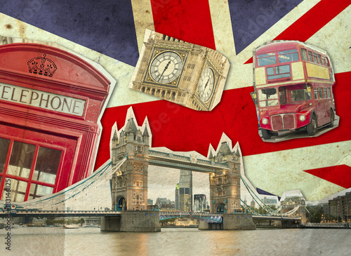 Leinwanddruck Bild Collage of Big Ben, London Bus, Tower Bridge and Palace of Westminster
