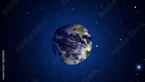 3D rendered Animation of a virtual flight towards Planet Earth. Elements of this image furnished by NASA.