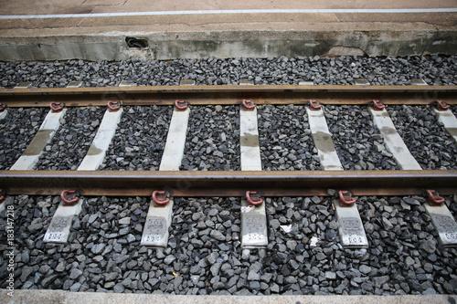 Tuinposter Spoorlijn railroad tracks at Khonkaen, Thailand,.