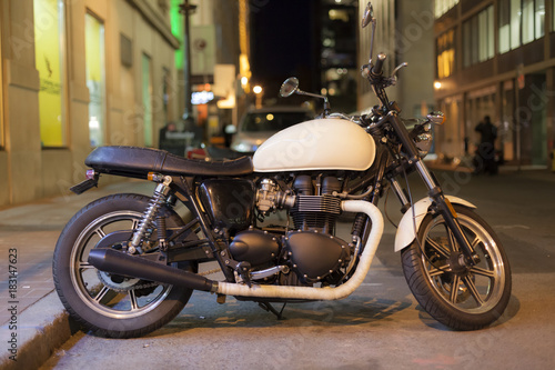 Retro motorcycle in the city