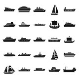 Boat icons set, simple style - 183150423