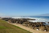 Stones on  Rocky Beach Seaside Sunny Day Clear Blue Sky - 183155284