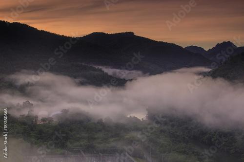 Poster Cappuccino Landscape of Srinakharin dam Kanchanaburi province, Thailand.