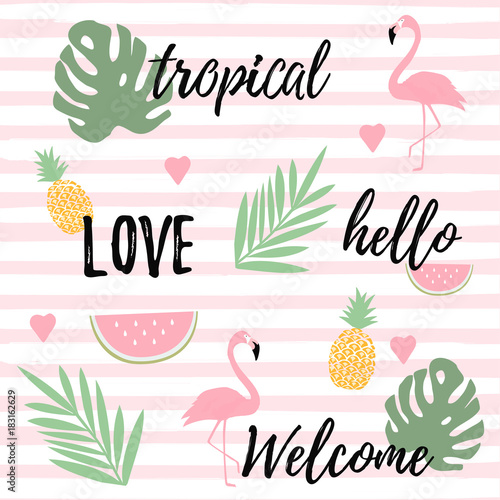 Fototapeta Tropical background with flamingos watermelon and pineapples. Summer vector illustration design. Flamingo background. Monstera leaves banner. Exotic background poster