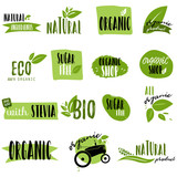 Stickers and badges for organic food and drink, restaurant, food store, natural products, farm fresh food, healthy products promotion. Natural products badges vector illustration - 183163091