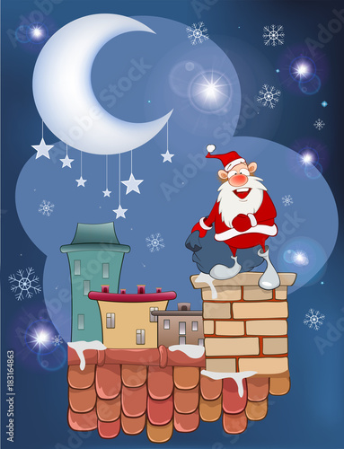 Foto op Aluminium Babykamer Illustration of the Cute Santa Claus Musician on the Roof