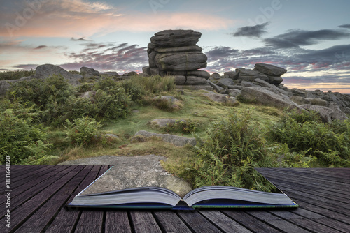 Foto op Aluminium Donkergrijs Stunning dawn sunrise landscape image of Higger Tor in Summer in Peak District England