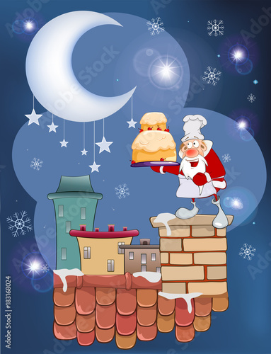 Deurstickers Babykamer Illustration of the Cute Santa Claus on the Roof
