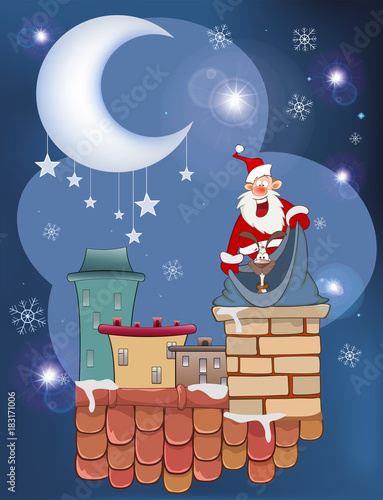 Foto op Aluminium Babykamer Illustration of the Cute Santa Claus and Cute Dog on the Roof