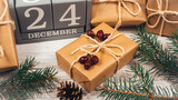 Rustic gift box with kraft paper. Christmas gift. - 183173464