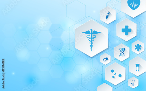 Wall mural Abstract geometric shape medicine and science concept background. Medical Icons