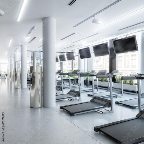 Fridge magnet Laufbänder im Fitness-Zenter, leer (focus)