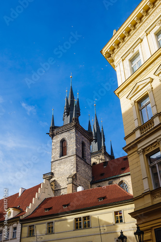 Deurstickers Praag Historische Gebäude in Prag, Tschechien