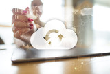 Cloud technology. Data storage. Networking and internet service concept. - 183180286