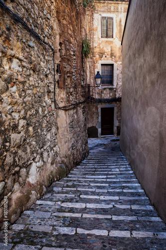 Poster Smal steegje Old Jewish Quarter in Girona City