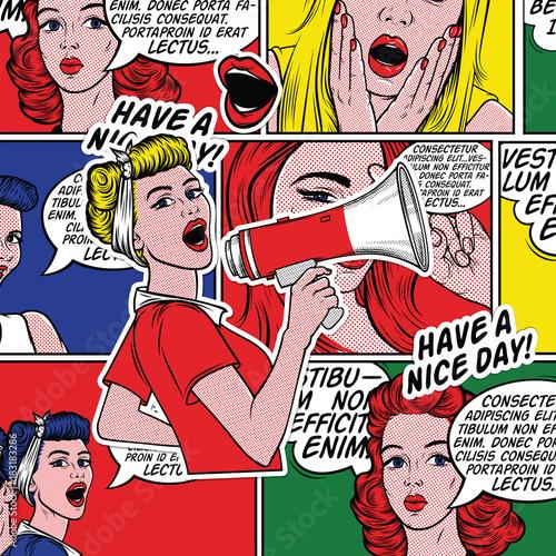 pop-artu-dziewczyna-z-megafon-kobieta-z-loudspeaker-girl-oglaszajac-znizki-lub-sprzedazy-czas-zakupow-najpierw-spotkanie-feminizm-prawa-kobiety-kobieta-protest-moc-dziewczyny-tlo-pop-artu-oferta-specjalna