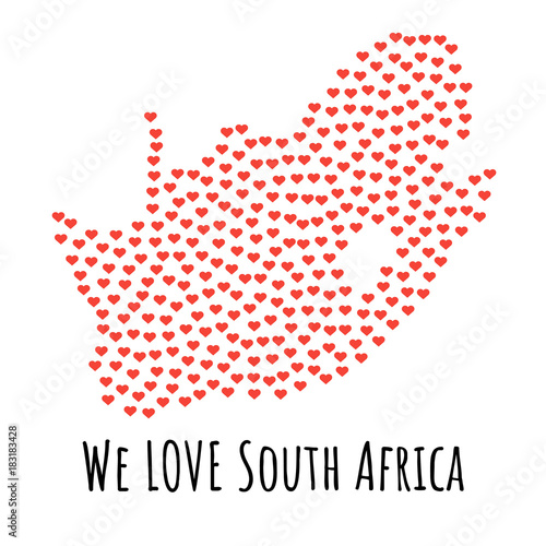 South Africa Map with red hearts - symbol of love. abstract background - 183183428